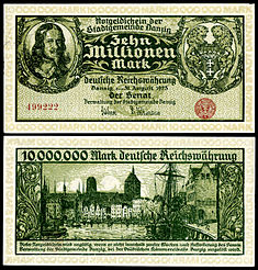 Hevelius depicted on a 10 million papiermark note (1923).