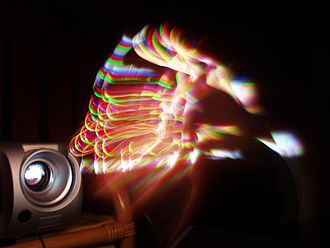 Digital Light Processing - The rainbow effect found in DLP projectors utilizing a mechanical spinning wheel.