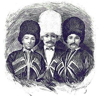 House of Dadeshkeliani - Brothers of Constantine Dadeshkeliani: Tsiokh (Mikhail), Tengis (Nicholas), and Isami (1850s).