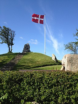 The Danish national flag (Dannebrog) waving in Samso Dannebrog isamso.jpg