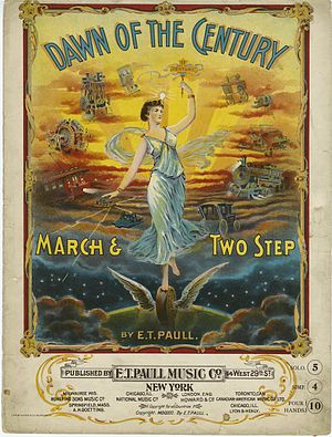 Turn of the century - 1900 sheet music cover reflecting the era's optimism about a better future through technological progress.
