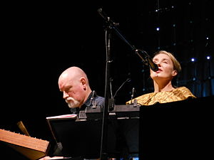 Dead Can Dance - Dead Can Dance at Greek Theatre in Berkeley, California during the Anastasis tour. Left to right: Brendan Perry, Lisa Gerrard