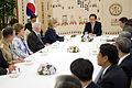Defense.gov News Photo 100721-D-7203C-030 - South Korean President Lee Myung-bak welcomes Secretary of Defense Robert M. Gates and Secretary of State Hillary Clinton during a dinner in the.jpg
