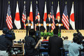 Defense Secretary Robert M. Gates, second from left, and Secretary of State Hillary Rodham Clinton, right, stand at a news conference with Japanese Minister of Foreign Affairs Takeaki Matsumoto and Minister 110621-F-RG147-449.jpg
