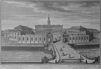 Slotsholmen - The first Christiansborg Palace, engraved illustration in Lauritz de Thurahs Den Danske Vitruvius from 1746