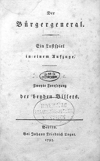Der Bürgergeneral - Frontispiece of the play