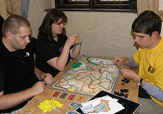 Ticket to Ride (board game) - A game of Ticket to Ride: Europe at the start of the game.
