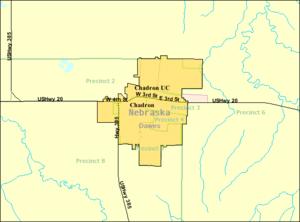 Chadron, Nebraska - Image: Detailed map of Chadron, Nebraska
