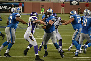 2012 Detroit Lions season - Blocking by the Lions' offense against Minnesota, September 30