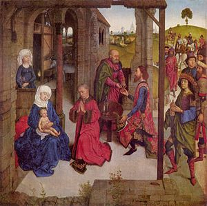 Saint Caspar - The Magi visiting child Jesus - Dirk Bouts - 15th century