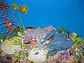 Diorama of a Silurian seafloor - cephalopod, trilobites, fish, crinoids, gastropods, corals, algae, starfish, brachiopods, bryozoans (44982225194).jpg