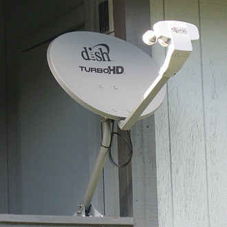 Dish Network - Dish 1000.2 (with TurboHD branding) mounted on a residential apartment railing.