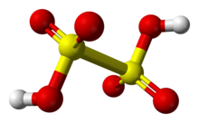 Ball-and-stick model of dithionic acid