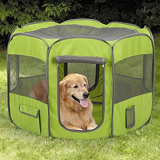 Pen (enclosure) - Image: Dog in IS4P Fabric Exercise Pen