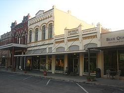 Historic district of downtown Goliad, Texas; the Von Dohlen Building is named for an early settler.
