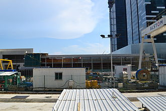 Downtown MRT station - Cladding works on going at the entrance as of May 2012.