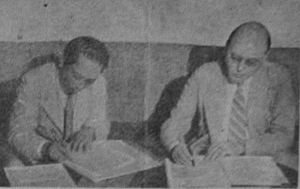 Linggadjati Agreement - Sutan Sjahrir (left) and Wim Schermerhorn drafting the agreement