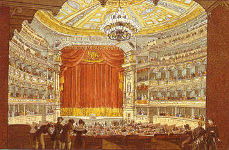 Rienzi - Interior of the first Dresden Opera House, where Rienzi was premiered in 1842 (contemporary sketch by J. C. A. Richter)