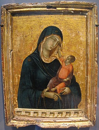 Duccio - Madonna with child, the child touching the virgin's veil