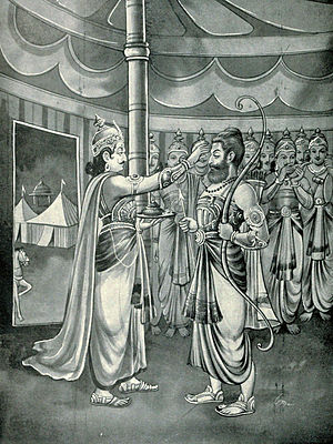 Drona Parva - Duryodhana appoints Drona as commander-in-chief of Kaurava army (shown), after Bhishma is fatally injured on 10th day of war. Drona parva describes how Drona is killed, along with many more.