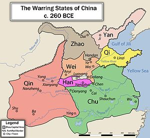 Seven Warring States - Map showing the Seven Warring States; there were other states in China at the time, but the Seven Warring States were the most powerful and significant
