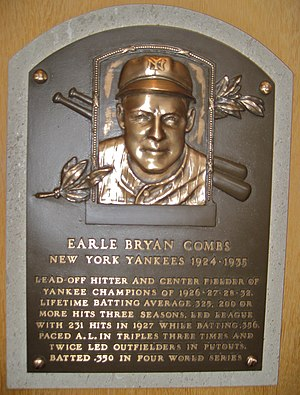 Earle Combs - Combs' plaque in the Baseball Hall of Fame.