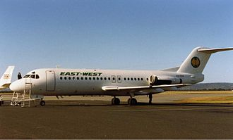 East-West Airlines (Australia) - East-West Airlines Fokker F28 at Perth Airport