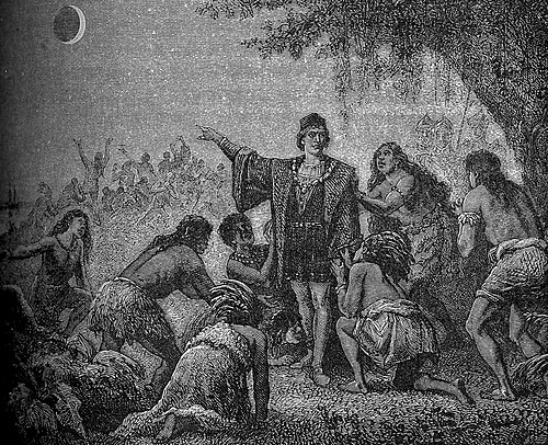 Columbus awes the Jamaican natives by predicting the lunar eclipse of 1504. Eclipse Christophe Colomb.jpg