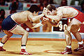 Ed Banach wrestles Akira Ohta during the 1984 Summer Olympic 2.jpg