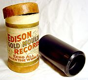 Edison Gold Moulded Cylinder made from black wax, ca. 1904
