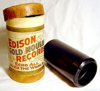 """Timeline of audio formats - Edison's """"gold moulded"""" black wax cylinder record"""