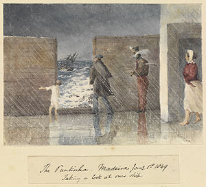Edward Gennys Fanshawe, The Puntinha, Madeira, Jany 1st 1849. Taking a look at one's ship.jpg
