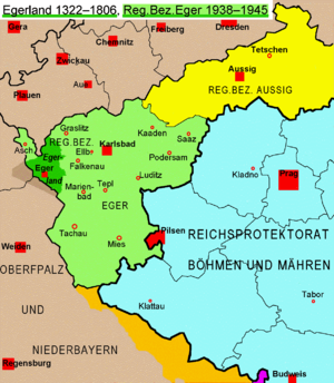 Egerland - Historical Egerland 1322-1806 and the region (Regierungsbezirk) of Eger 1939-1945