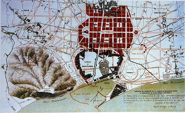 Plan d'agrandissement de Barcelone proposé en 1859 par Miquel Garriga i Roca.