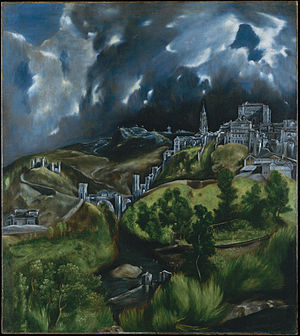 Proto-Cubism - El Greco, c. 1595-1600, View of Toledo, oil on canvas, 47.75 x 42.75 cm, Metropolitan Museum of Art, New York. This work has a striking resemblance to 20th-century Expressionism. Historically however it is an example of Mannerism.