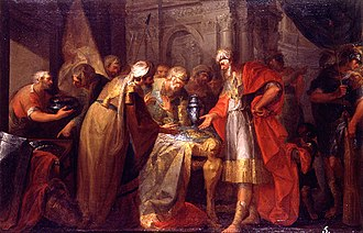 Hezekiah - Hezekiah showing off his wealth to envoys of the Babylonian king, oil on canvas by Vicente López Portaña, 1789