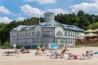 Jūrmala - Former Swimming Establishment of Emilija Racene on the beach in Majori - The building was constructed in the beginning of the 20th century and saw its expansion in 1914. During the Soviet times the building hosted resort clinics that was one of the most well-arranged treatment establishments in Jurmala .