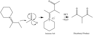 Enamine - Enamine nucleophile attacks acetyl chloride to form a dicarbonyl species