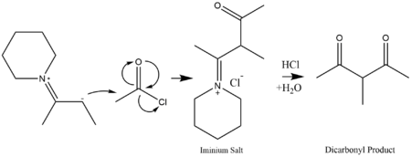 Enamine nucleophile attacks acetyl chloride to form a dicarbonyl species