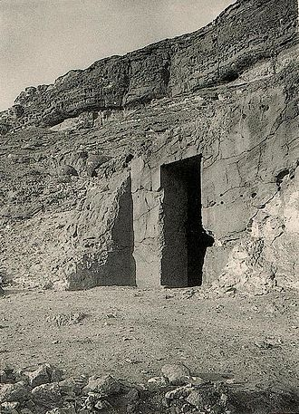 Khnumhotep I - Entrance to tomb of Khnumhotep I BH14 at Beni Hasan (c. 1890)