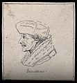 Erasmus; portrait in profile. Drawing, c. 1795, after H. Hol Wellcome V0009255ER.jpg