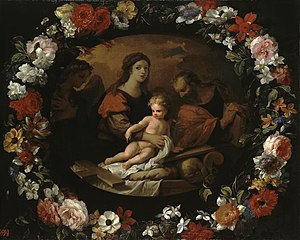Holy Family in a Wreath of Flowers