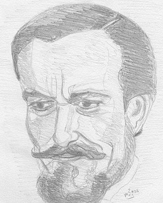 "Jack the Ripper in fiction - Sketch of Eric Porter as the character ""Dr John Pritchard"" in Hands of the Ripper. In the film, the kindly Dr Pritchard adopts the Ripper's murderous daughter."