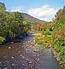 Esopus Creek seen from a bridge on NY 28 near the hamlet of Shandaken, NY, USA