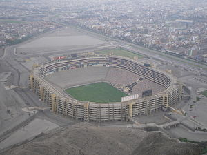 Luftbild des Estadio Monumental in Lima