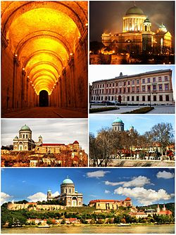 Top left:Dark Gate, Top upper right:Esztergon Cathedral, Top lower right:Saint Adalbert Convention Center, Middle left:Kis-Duna Setany (Little Danube Promenade), Middle right:Saint Stephen's Square, Bottom:Esztergon Castle Hill and Danube River
