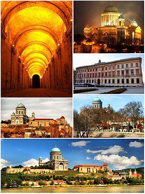 Esztergom - Top left:Dark Gate, Top upper right:Esztergon Cathedral, Top lower right:Saint Adalbert Convention Center, Middle left:Kis-Duna Setany (Little Danube Promenade), Middle right:Saint Stephen's Square, Bottom:Esztergon Castle Hill and Danube River