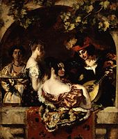 Man with a lute serenades two women while a black servant brings food