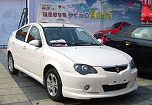 A white Proton Europestar displayed in a showroom