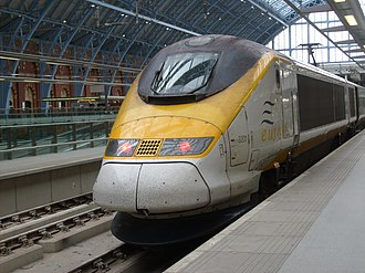 Alstom - A Eurostar Class 373 in London. The class 373 was built by Alstom in the early to mid 1990s for the eurostar service from England to France.